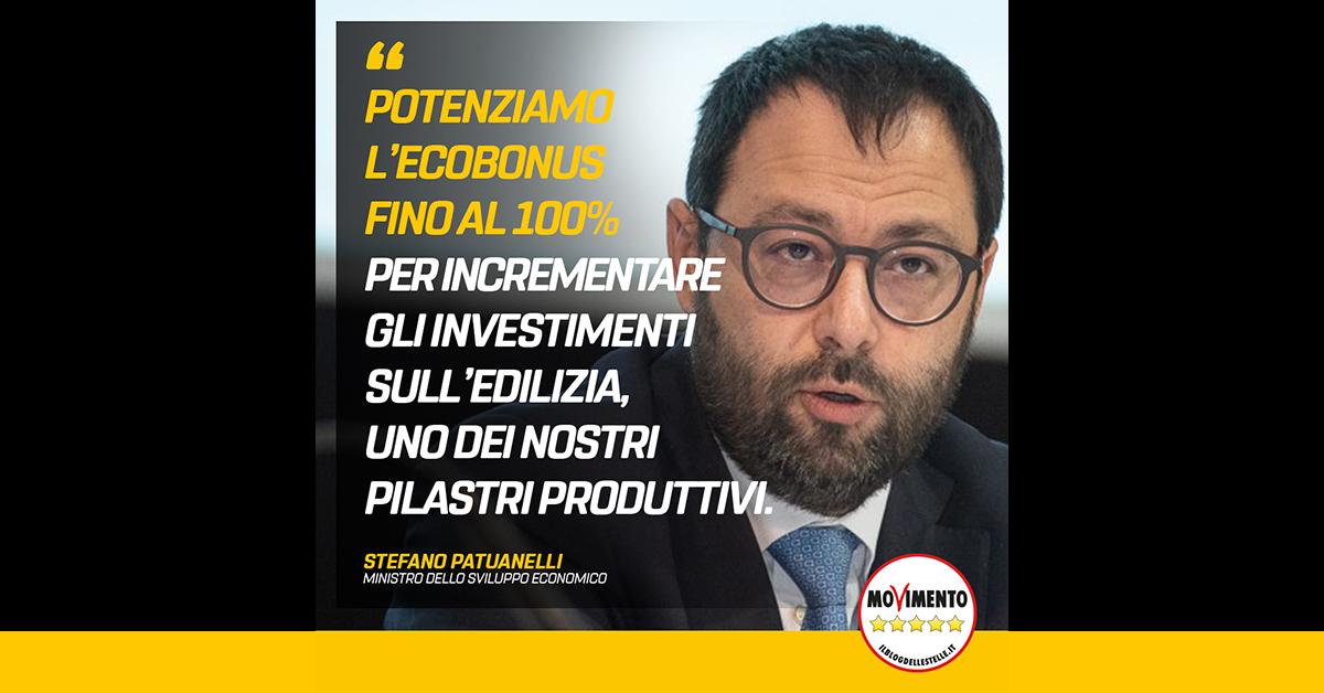 Patuanelli annuncia Ecobonus al 100%, subito Impresa 4.0 su tre anni