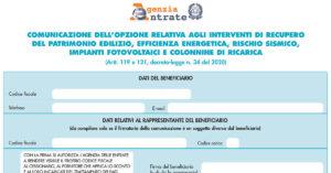 Modulo comunicazione interventi Superbonus 110 Agenzia delle Entrate