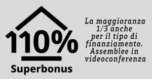 SUPERBONUS 110%: La maggioranza di 1/3 anche per il tipo di finanziamento. Assemblee in videoconferenza